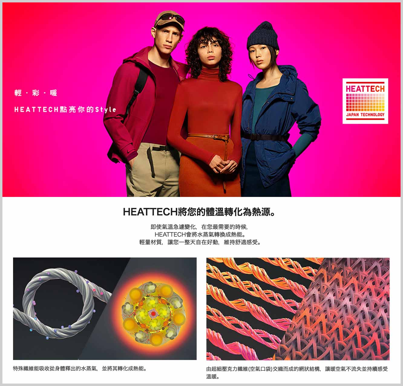 獨特技術 UNIQLO HEATTECH Technology